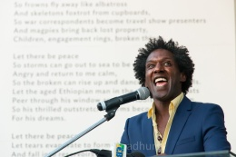 Poet Lemn Sissay gives an animated reading of his poem 'Let there be Peace' at the British Council in Addis Ababa. Copyright Tom Broadhurst.