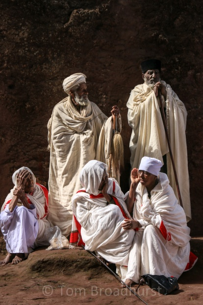 Priests and pilgrims celebrate Ethiopian new year with a ceremony in Lalibela. Copyright Tom Broadhurst.