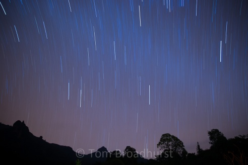 Long exposure creates the effect of multiple shooting stars over Bale Mountains, Ethiopia. Copyright Tom Broadhurst.