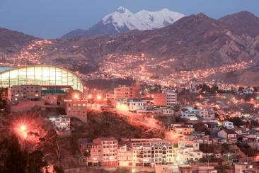 Mount Illimani and the city of La Paz, Bolivia, shortly after sunset. Copyright Tom Broadhurst.