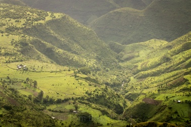 A valley in Ethiopia's Simien Mountains, seen from Limalimo lodge during rainy season. Copyright Tom Broadhurst.