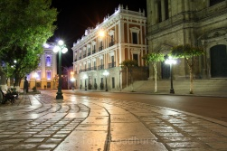 Plaza Murillo- Bolivia's governmental centre - is bustling by day, but largely deserted by night. Copyright Tom Broadhurst.