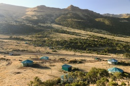 Chenek campsite, Simien Mountains, Ethiopia bathed in morning light. Copyright Tom Broadhurst.