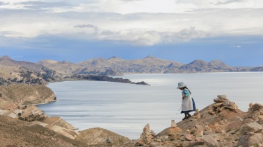 Peace and tranquillity. A view of Lake Titicaca from Isla del Sol, Bolivia, 2010. This famous high-altitude lake is under threat from over fishing and pollution. Copyright Tom Broadhurst.